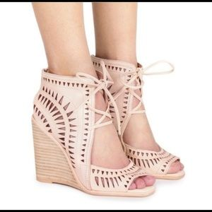 "Jeffrey Campbell ""Rodillo"" High Nude Wedges"